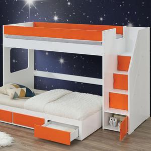 092LB Loft Bed w/ Storage Ladder - Finish: White / Orange Finish<br><br>Trundle Sold Separately<br><br>Slats System Included<br><br>Dimensions: 97