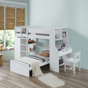 093LB Simple White Loft Bed - Finish: White<br><br>Twin Bed Sold Separately<br><br>Chair Sold Separately<br><br>Slats System Included<br><br>Dimensions: 92