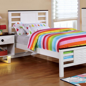 0947FB Two-Tone Full Bed  - Finish: White/Dark Walnut<br><br>Slat Kit Included<br><br>Available in Twin Size<br><br>Dimensions: 79 1/2