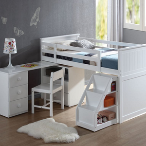 094LB Twin Loft Bed with Desk & Ladder - Finish: White<br><br>Slats System Included<br><br>Chair Sold Separately<br><br>Dimensions: 79