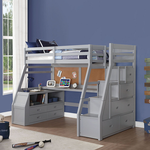 095LB Loft Bed w/ Desk & Staircase - Finish: Gray<br><br>Slats System Included<br><br>Dimensions: 98