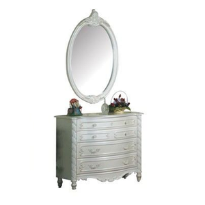 097M Antique Style Oval Mirror  - Finish: Pearl White w/ Gold Brush Accent<br><br>Dimensions: 28