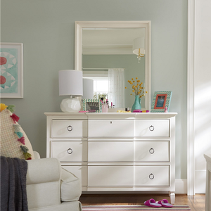 Item # 097DR Dresser - Finish: Cotton<br><br>Mirror Sold Separately<br><br>Changing Tray Sold Separately<br><br>Dimensions: 55W x 19D x 38H