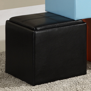 Item # 009SB Storage Cube Ottoman in Black - Finish: Black Bi-Cast Vinyl<br><br>Available in Blue, Brown, Green, Red, Orange & White Bi-Cast Vinyl<br><br>Dimensions: 17 x 17 x 17.5H