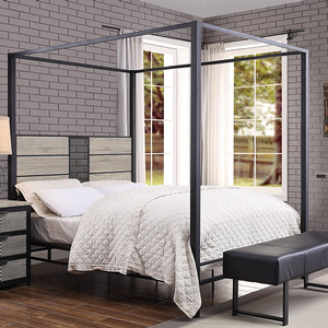 1040TMB Twin Metal Canopy Bed - Finish:Natural / Sandy Gray<br><br>Box Spring Required<br><br>Dimensions: 81
