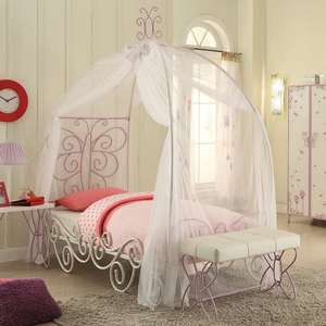 Item # 003FMB Full Metal Canopy Bed - Finish: White / Light Purple<br><br>Dimensions: 85