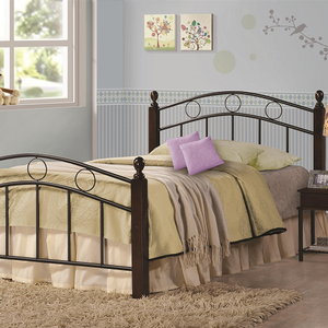 1041TMB Twin Metal Bed - Finish: Cappuccino/Black<br><br>Slat Kit Included<br><br>Dimensions: 42.50