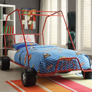 1053TB Twin Jeep Bed - Finish: Red<br><br>No Box Spring Required<br><br>Dimensions: 84