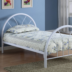 1053TMB Twin Metal Bed in White - Finish: White<br><br>Available in Black & Blue<br><br>Slat Kit Included<br><br>Dimensions: 42