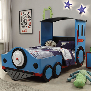 1054TB Blue Twin Train Bed - Finish: Blue / Red & Black<br><br>No Box Spring Required<br><br>Dimensions: 82