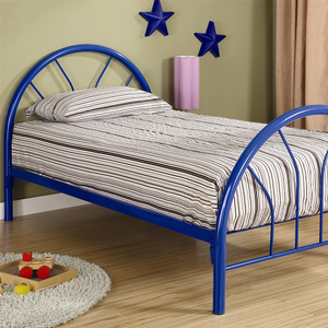 Item # A0015B - Twin Metal Bed<br>Available in Full Size<br>Finish: Blue<br>Available in White & Black<br>Slat Kit Included<br>Dimensions: 42W x 78.50D x 40H