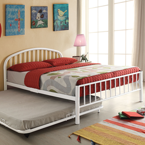Item # A0019B - Twin Iron Bed<br>Available in Full Size<br>Finish: White<br>Available in Blue & Silver Finish<br>Dimensions: 79 x 39 x 33H