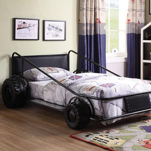 1059TB Twin Car Bed in Black - Finish: Black<br><br>Available in Red, Yellow & White Finish<br><br>No Box Spring Required<br><br>Dimensions: 79