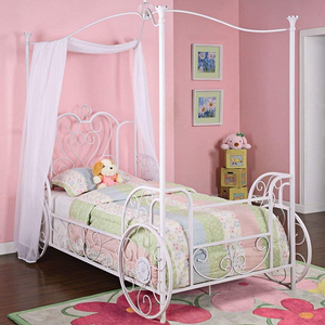 1061TB Carriage Canopy Twin Size Bed - Finish: Antique, Hand-Washed White with Pink Sand-Through<br><br>Dimensions: 87 3/4