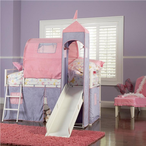 1063TB Twin Size Castle Tent Bed with Slide - Finish: White Powder Coat With Purple & Pink Tent<br><br>Dimensions: 79 3/4