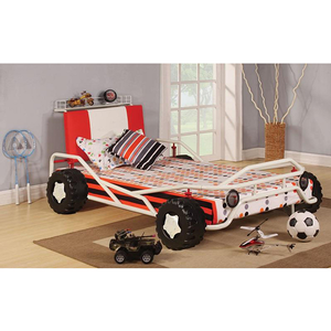 1068TB Twin Bed - Finish: White/ Red<br><br>Dimensions: 37