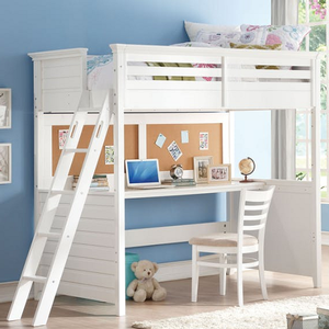 108LB White Twin Workstation Loft Bed - Finish: White<br><br>Chair is not included<br><br>Bunkie Board Not Required<br><br>Slat Kit Included<br><br>Dimensions: 83