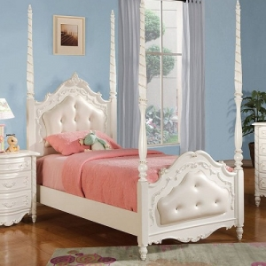 0910FB Audrina Full Post Bed w/ Upholstered Headboard & Footboard - Finish: Pearl White w/ Gold Brush Accent<br><br>Available in Twin Size<br><br>Available W/O Upholstered Headboard & Footboard<br><br>Dimensions: 82