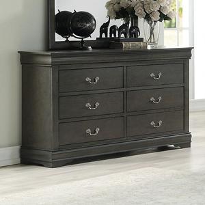 Item # 109DR 6 Drawer Dresser in Dark Gray - Finish: Dark Gray<br><br>Available in Black, Cherry, Antique Gray, White & Platinum Finish<br><br>Dimensions: 57