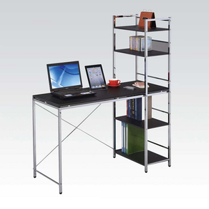 Item # 111D Computer Desk With Shelves - Finish: Chrome Plated Black<br><br>Dimensions: 47