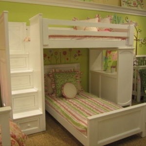 LB001 Kayden Twin Over Twin Loft Bed with Steps - All solid wood loft bed with steps.