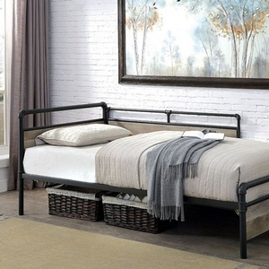 100DB Daybed  - Style Industrial<br> Color/Finish Sand and Black. Frame Finish Sand Black and Antique Natural Tone<br> Material Metal, wood, wood veneer, wood<br> Product Dimension Trundle 78