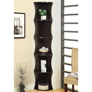 Item # 123BC Corner Shelf Bookcase - Finish: Cappuccino<br><br>Dimensions: 11.50