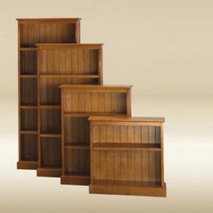 Item # 130BC Bookcase with Bead Board - Pecan Finish - Finish: Pecan<br><br>Available in Dark Pecan, White, Walnut, Birch and Blue Finish