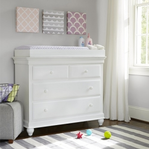 020CHT Changing Station - Changing pad and safety strap for securing infant while changing<br><Br>Separate section for baby products<br><Br>Attaches to dresser using included wood screws<br><Br>