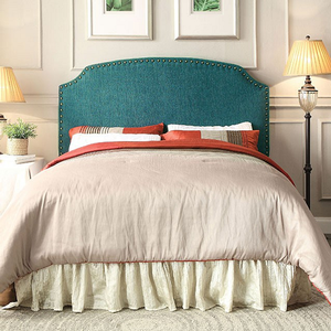 134HB Nailhead Trim Headboard in Dark Teal - Finish: Dark Teal<br><br>Available in Blue, Gray & Beige<br><br>