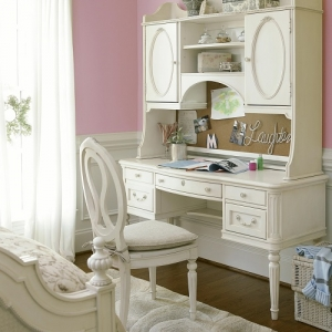 008V Vanity Desk - <b>Hutch sold separately</b><br><Br>File drawer on left<br><br>Two box drawers on right<br><br>Pencil tray<br><br>Center drawer has flip-down front for keyboard storage<br><br>