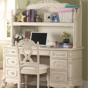 Item # 013HC Writing Desk Hutch - Floral motif hardware<br><br>Ecru painted finish<br><br>Traditional carving details <br><br>