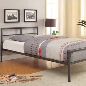 146MBB Twin Metal Bed in Gunmetal - Finish: Gunmetal<br><br>Available in Full Size<br><br>Slat Kit Included<br><br>Dimensions: 41.50