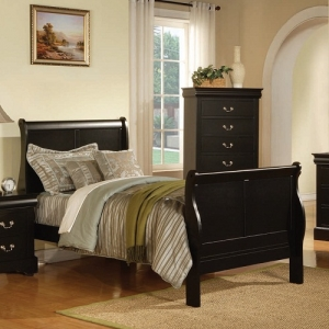 0971FB Full Sleigh Bed - Finish: Black<br><br>Available in Cherry, Antique Gray, White & Platinum Finish<br><br>Available in Twin Size<br><br>Box Spring Required<br><br>Dimensions: 85