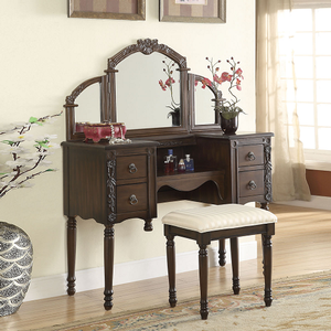 205M 3 Fold Mirror - Finish: Oak<br><br>Desk & Stool Not Included<br><br>Dimensions: 44