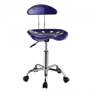 Item # 044CHR Dark Blue & Chrome Adjustable Height Rolling Chair - Dimensions: 17 3/8