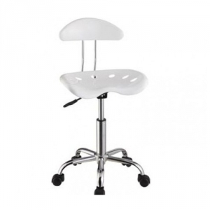 Item # 046CHR White & Chrome Adjustable Height Rolling Chair - Dimensions: 17 3/8