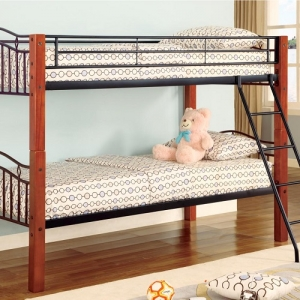 004MBB Metal and Wood Casual Twin/Twin Bunk Bed - Twin/Twin bunk bed finished in cinnamon and black with metal side guard rails and coordinating ladder<br><br>Crafted from asian hardwood and metal<br><Br>