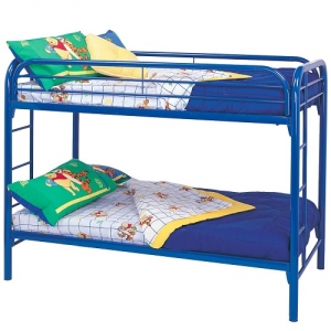 015MBB Twin/Twin Bunk Bed w/ Built-In Ladders - Twin/Twin bunk bed constructed from strong two inch metal tubing.<br><br>Full length guard rails and built in ladder for safety<b><br>