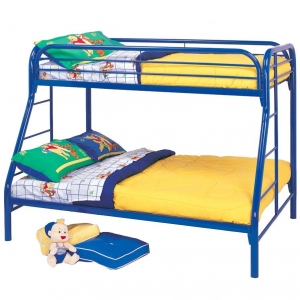 016MBB Twin Over Full with Side Ladders - Twin/Full bunk bed with full length guard rails and built in ladder for safety<br><br>Constructed from strong two inch metal tubing<br><Br>