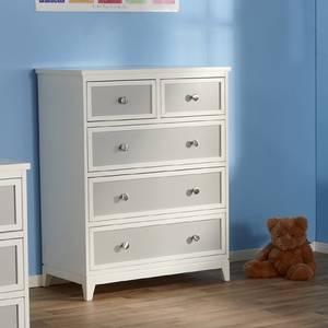 Item # 238CH 5 Drawer Chest in Gray/White - Finish: White/Gray<br><br>Available in White Finish<br><br>Dimensions: 36.25W x 20D x 46.5H