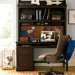 Item # 008HC Desk Hutch - Three-way dimmer light illuminates work area<br><br>Removable top shelf<br><Br>Cork back<br><Br>