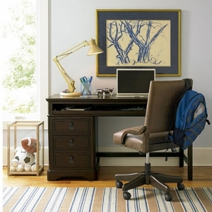 Item # 014CHR Desk Chair - Tilting desk chair on swivel<br><Br>Five castered legs<br><Br>Adjustable height<Br><Br>Decorative nail head trim<br><Br>Leather upholstery <br><Br>