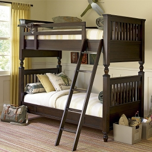 Item # A0003FF Full Bunk Bed - Metal pegs attach upper bunk to lower bunk<br><br>Accommodates Trundle or Storage Unit<br><Br>Built to support premium mattress<br><br>Bunk bed works as two separate beds<br><br>Removable top bunk shelf<br><br>Wider ladder steps<br><Br>