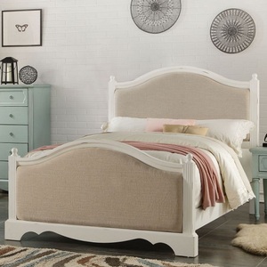 240T Curvy Upholstered Twin Bed - Finish: Antique White / Beige Linen<br><br>Available in Full Size<br><br>Box Spring Required<br><br>Dimensions: 84