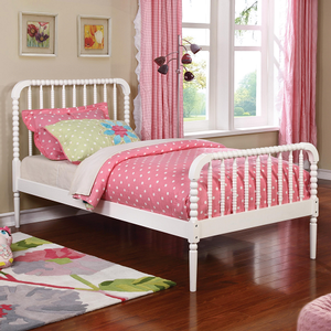0240T Simple Twin Bed in White - Finish: White<br><br>Available in Black<br><br>Slat Kit Included<br><br>Dimensions: 41.75