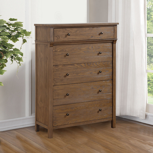 Item # 241CH 5 Drawer Chest - Finish: Reclaimed Oak Finish<br><br>Dimensions: 38