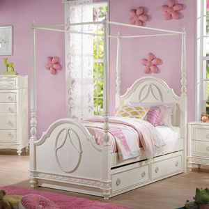 243T Antique Style Twin Post Bed in Ivory - Finish: Ivory<br><br>Available in Full Size<br><br>No Box Spring Required<br><br>Trundle Sold Separately<br><br>Canopy Sold Separately<br><br>Dimensions: 82