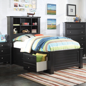 245T Twin Bookcase Storage Bed - Finish: Black<br><br>Available in Full Size<br><br>No Box Spring Required<br><br>Dimensions: 89