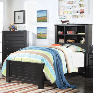 249T Twin Bed w/ Bookcase Headboard - Finish: Black<br><br>Available in Full Size<br><br>Available in White Finish<br><br>No Box Spring Required<br><br>Dimensions: 89